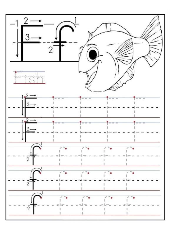 F Worksheets : Letter f worksheet for preschool crafts