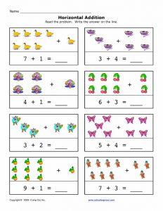 Preschool horizontal addition worksheet