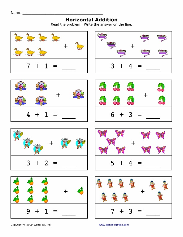 Preschool Horizontal Addition Worksheet on Cut Out Worksheets For Kindergarten