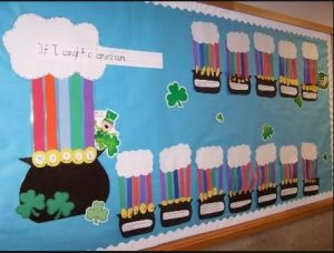 Saint Patrick's Day Bulletin Board - a cube of gold at the end of the rainbow