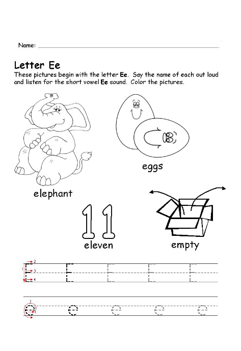 Theese pictures begin with the letter e worksheet - Preschool Crafts