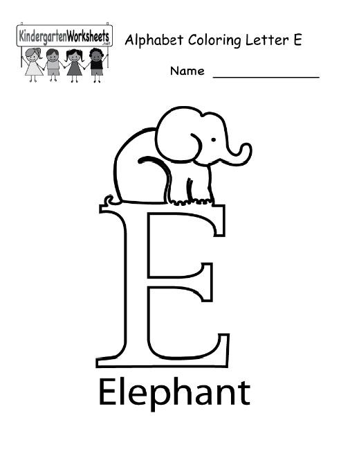 alphabet coloring letter E for kindergarten - Preschool Crafts