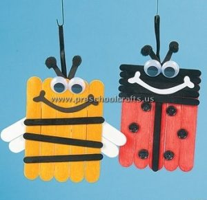 bee and ladybug popsicle stick kids crafts