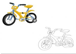 bicycle colored coloring pages for kindergarten and preschool free printable