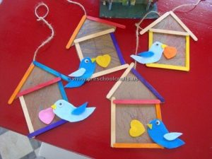 bird house popsicle stick craft idea for kids