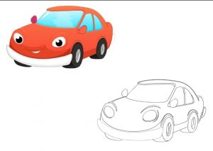 car colored coloring pages for kindergarten and preschool free printable
