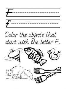 color the objects that start with the letter f
