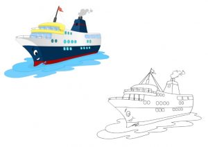cruise ship coloring pages for kindergarten and preschool