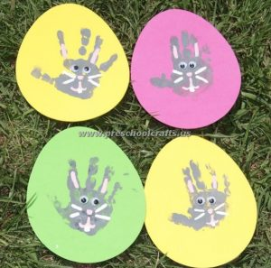 easter egg and handprint bunny crafts