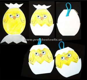 easter folding paper chick crafts for kids