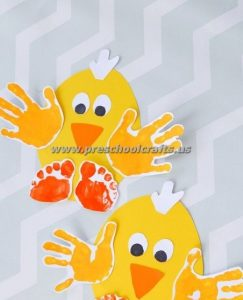 easter handprint chick crafts