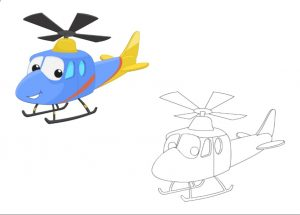free printable helicopter colored coloring pages for kindergarten and preschool