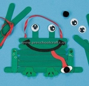 frog popsicle stick craft idea for kids