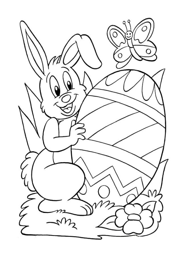 Happy Easter Bunny Egg Coloring Pages