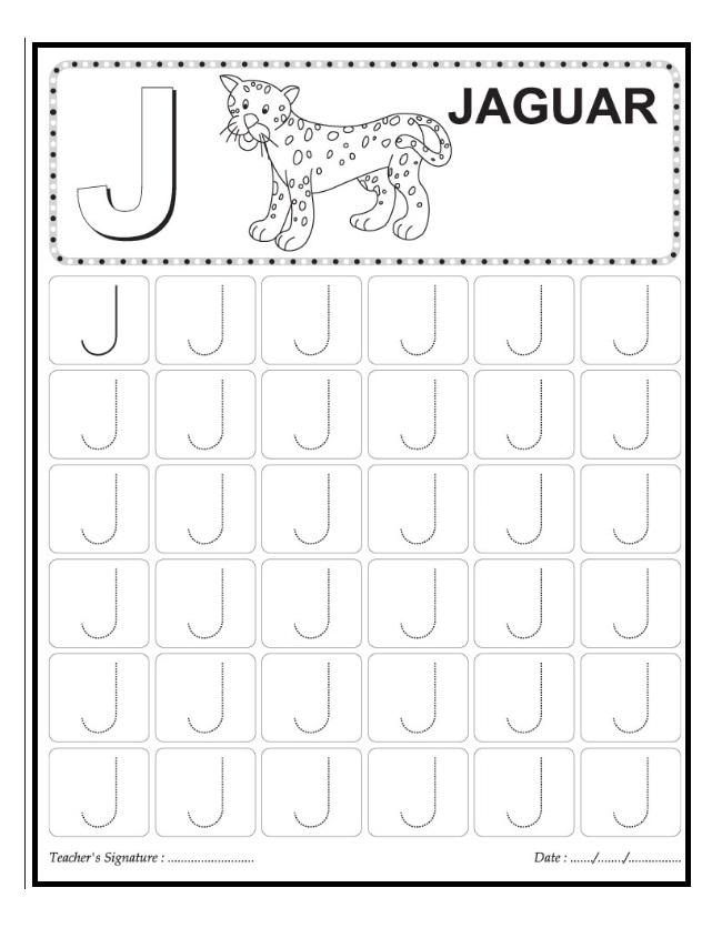 j is for jaguar worksheet preschool and kindergarten and ...