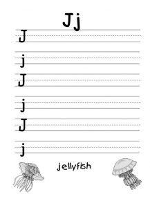 j is for jellyfish worksheet for preschool