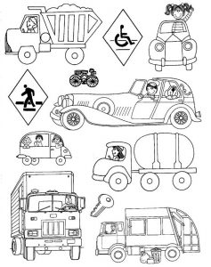 Land Transportation Coloring Pages for Kids - Preschool and Kindergarten