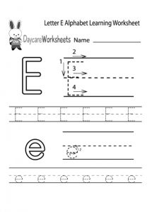 letter E alphabet learning worksheet