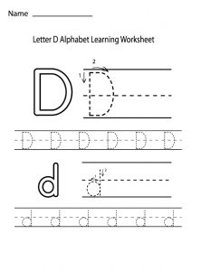 letter d alphabet learning worksheet