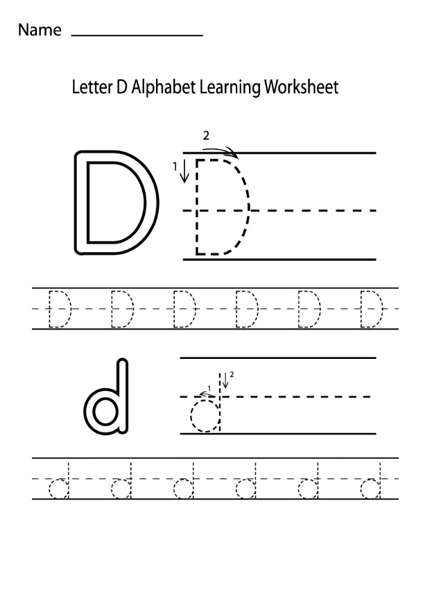 letter d alphabet learning worksheet preschool crafts. Black Bedroom Furniture Sets. Home Design Ideas