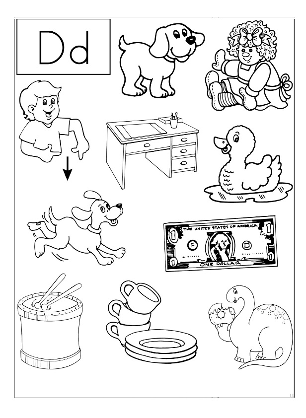 letter d coloring worksheet preschool crafts. Black Bedroom Furniture Sets. Home Design Ideas