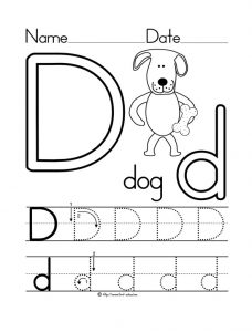 letter d worksheet dog coloring page
