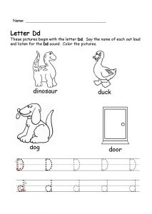 letter d worksheet for kindergarten
