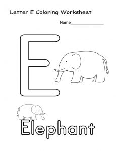 letter e coloring worksheets