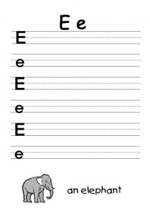 letter e worksheet for an elephant
