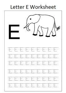 letter e worksheet for preschool elephant