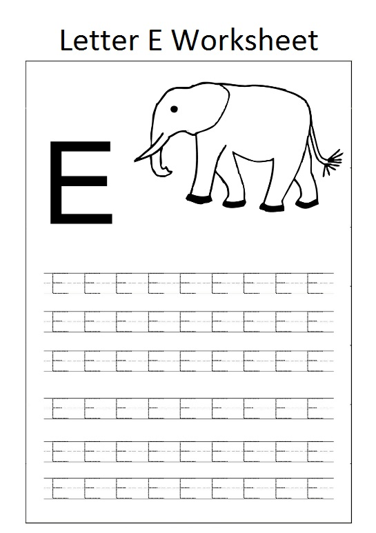 letter e worksheet for preschool elephant - Preschool Crafts