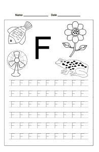 letter f trace line worksheet