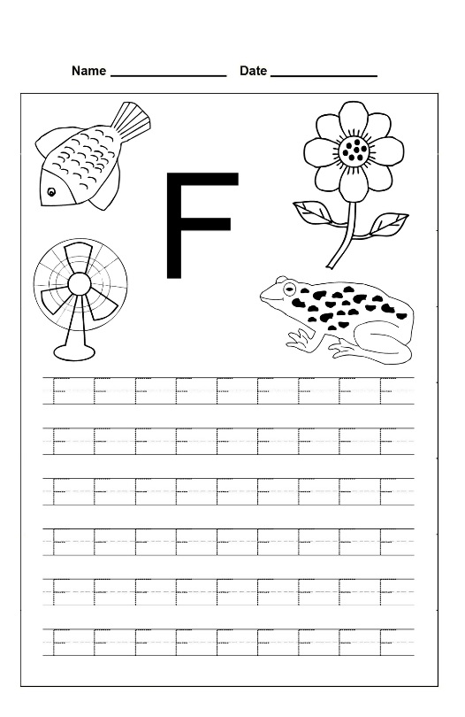 letter f trace line worksheet preschool crafts. Black Bedroom Furniture Sets. Home Design Ideas