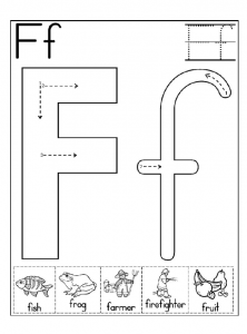 letter f worksheet for kindergarten and preschool