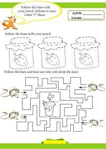 letter j tracing sheet for preschool