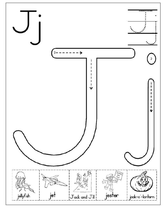 letter j worksheet free printable preschool crafts. Black Bedroom Furniture Sets. Home Design Ideas