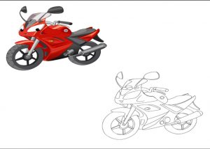 motorcycle colored coloring pages for kindergarten and preschool free printable