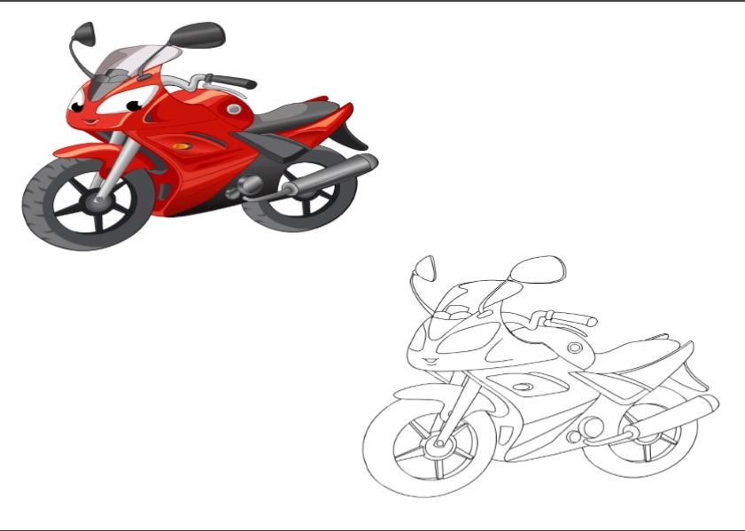 motorcycle colored coloring pages