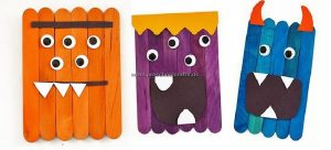monsters popsicle stick crafts for kids
