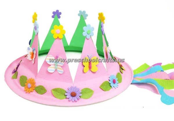 Paperplate spring crown crafts for kids preschool crafts for Art and craft crown