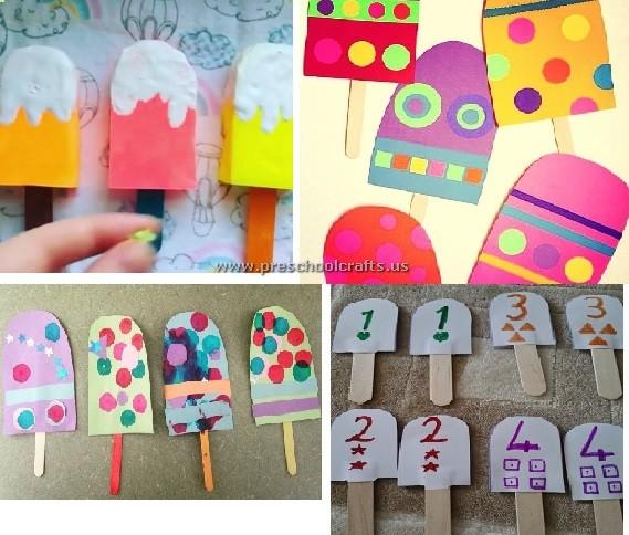 Popsicle stick icecream craft ideas for kids preschool for Ice stick craft ideas