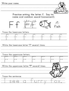 practice writing the letter f worksheet for firstgrade