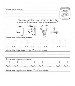 practice writing the letter j