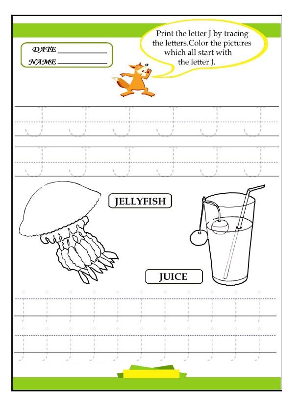 print the letter j by tracing worksheet preschool crafts. Black Bedroom Furniture Sets. Home Design Ideas