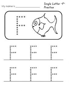single letter f practice worksheet for kindergarten