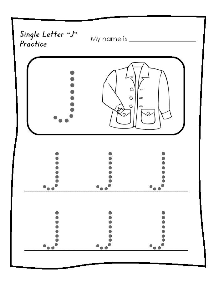single letter j worksheet free printable trace line Preschool Crafts – Letter J Worksheets