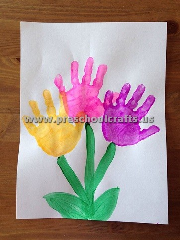 spring handprint craft ideas for kids - Preschool Crafts