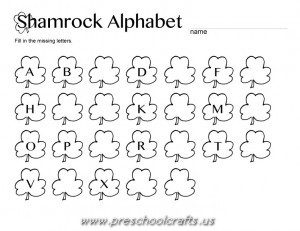 st patrick day alphabet letters worksheets for kids