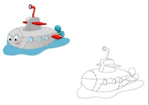 submarine coloring pages for kindergarten and preschool