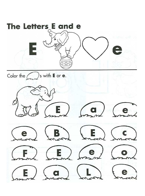 the letter e and e worksheet   preschool crafts